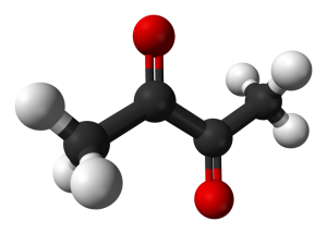 Diacetyl · by Ben Mills - Own work, Public Domain, https://commons.wikimedia.org/w/index.php?curid=3067696